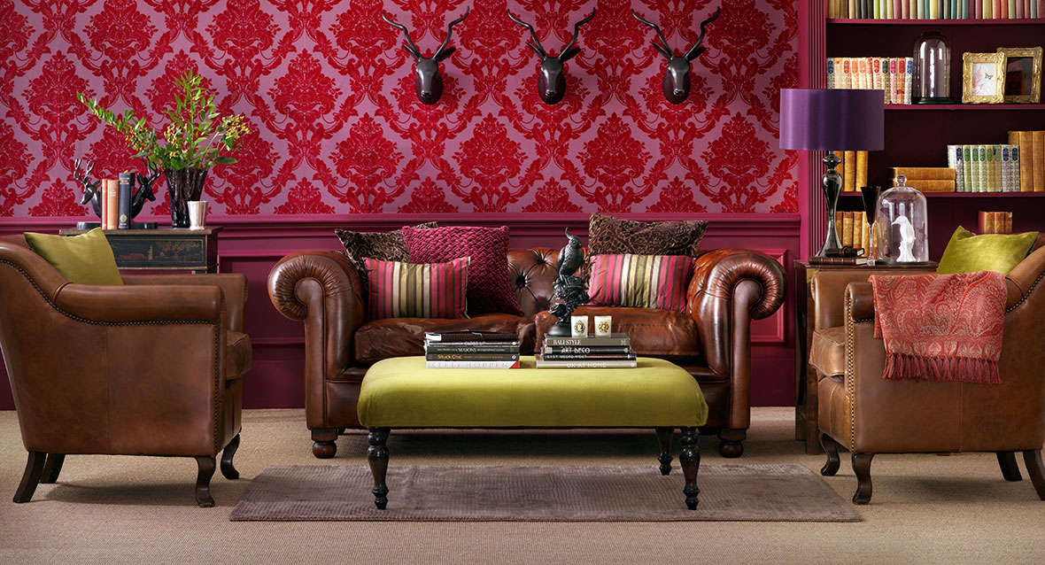 Leather Sofa, Armchairs and Footstool with Wooden Furniture Legs