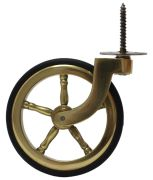 Brass Wagon Wheel Screw Castor with Rubber Tyre