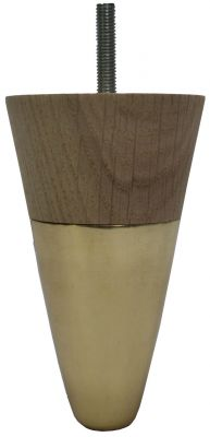 Blix Solid Oak Furniture Legs with Brass Slipper Cups