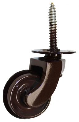 Brown Screw Castor with Rubber Wheel 32mm
