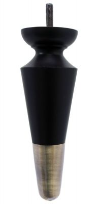 Ines Black Furniture Leg With Antique Brass Cup