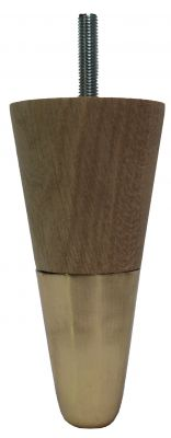 Jensine Solid Oak Furniture Legs with Brass Slipper Cups