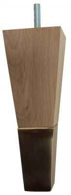 Luana Solid Oak Square Furniture Legs with Brass Slipper Cups