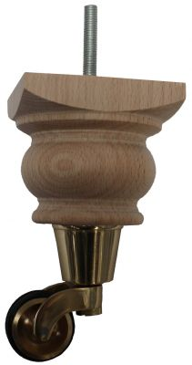 Marja Wooden Legs with Brass Castor with Double Rubber Tyre