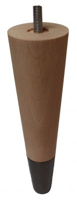 Sonia Beech Tapered Furniture Legs with Black Chrome Slipper Cups